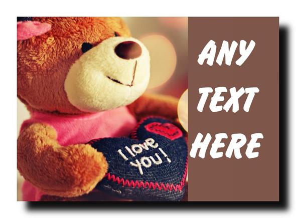 I Love You Teddy Personalised Jumbo Magnet