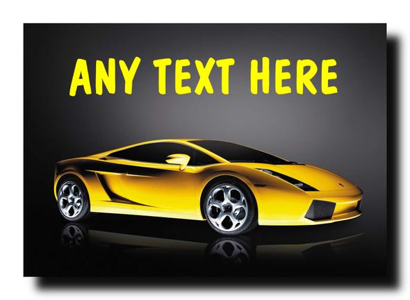 Yellow Lamborghini Gallardo Personalised Jumbo Magnet