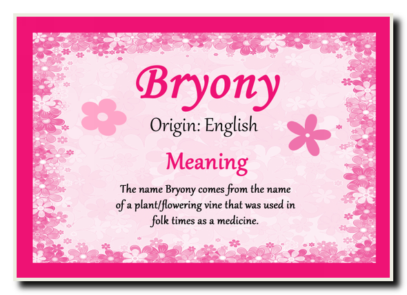Bryony Personalised Name Meaning Jumbo Magnet