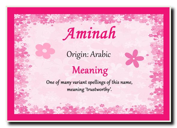 Aminah Personalised Name Meaning Jumbo Magnet