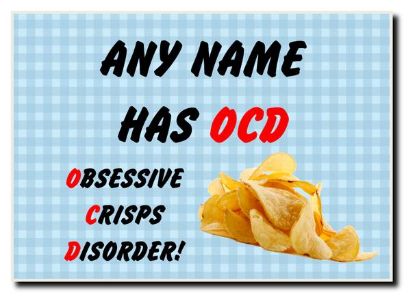 Funny Obsessive Disorder Crisps Blue Personalised Jumbo Magnet