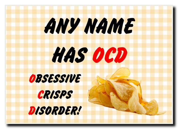 Funny Obsessive Disorder Crisps Yellow Personalised Jumbo Magnet