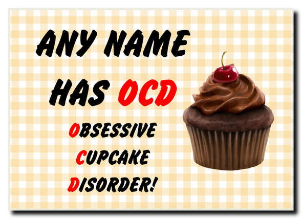 Funny Obsessive Disorder Cupcake Yellow Personalised Jumbo Magnet