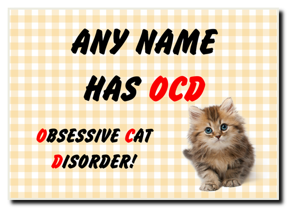 Funny Obsessive Disorder Cat Yellow Personalised Jumbo Magnet