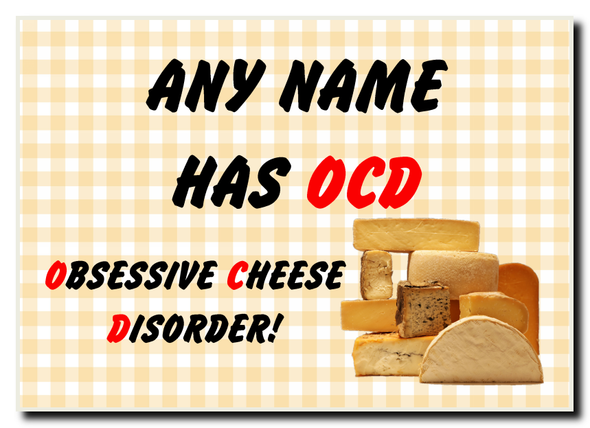Funny Obsessive Disorder Cheese Yellow Personalised Jumbo Magnet
