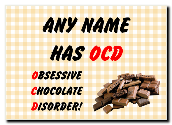 Funny Obsessive Disorder Chocolate Yellow Personalised Jumbo Magnet