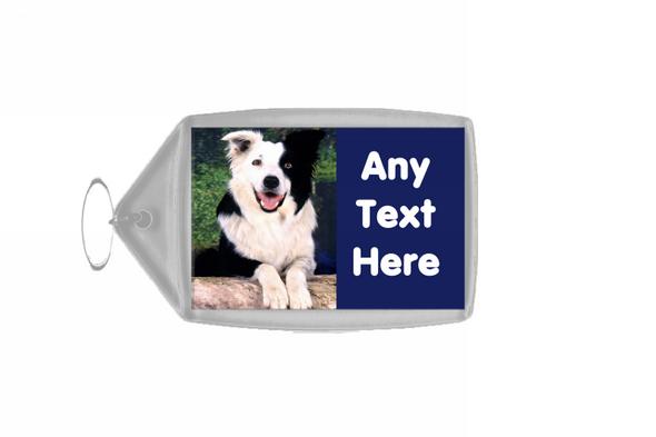 Border Collie Dog Personalised Keyring
