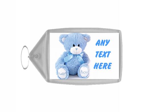 Blue Teddy Personalised Keyring