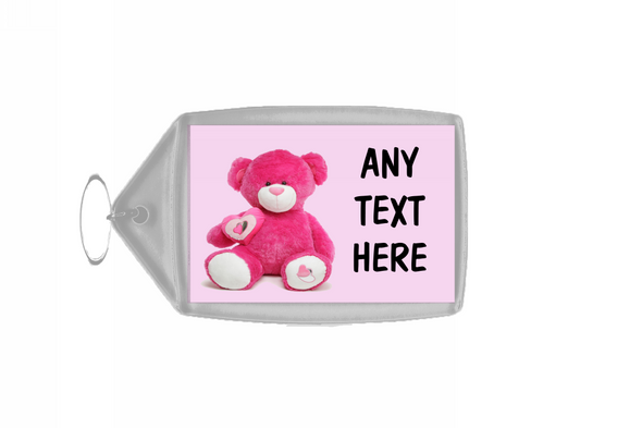 Pink Bear Personalised Keyring