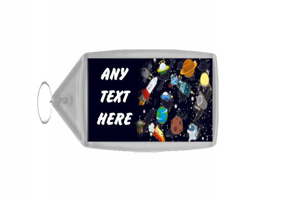 Space Rocket Stars Personalised Keyring