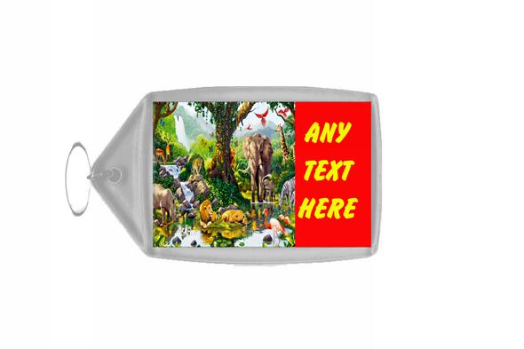Animal Jungle Red Personalised Keyring