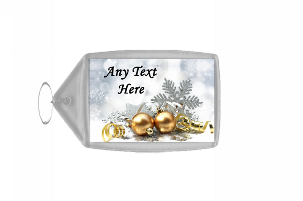Gold Baubles Christmas Personalised Keyring