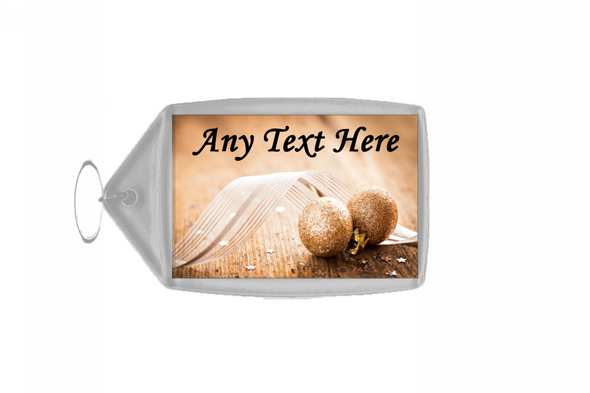 Gold Glitter Ball Christmas Personalised Keyring