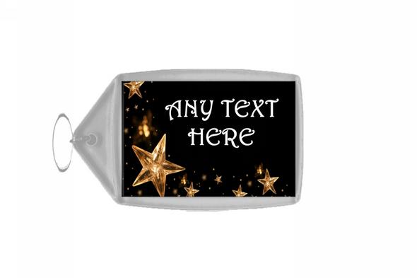 Gold Stars Christmas Personalised Keyring