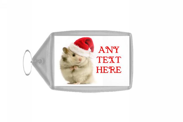 Hamster Christmas Personalised Keyring