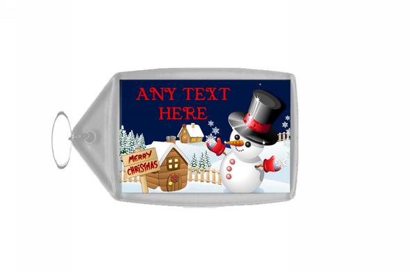 Jolly Snowman Christmas Personalised Keyring