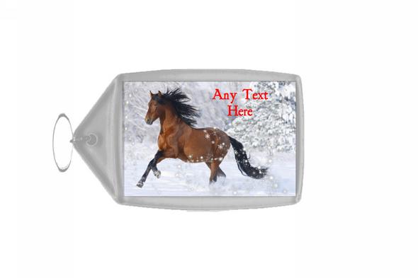 Lovely Horse Christmas Personalised Keyring