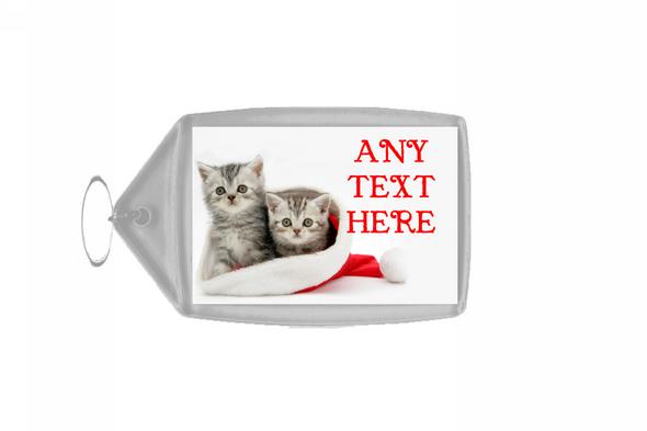 Lovely Kittens Christmas Personalised Keyring