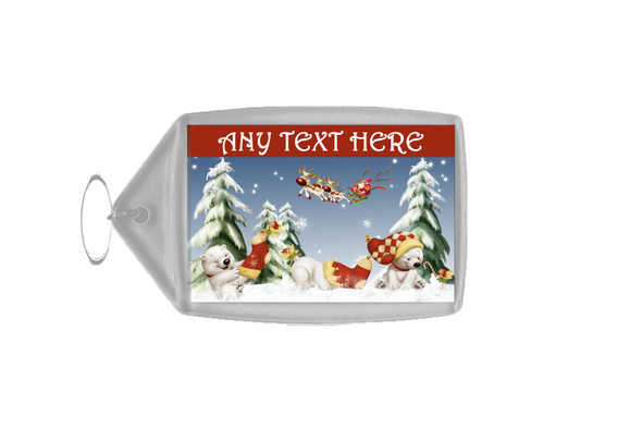 Polar Bears Christmas Personalised Keyring
