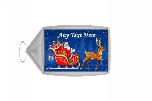 Santa And Rudolph Christmas Personalised Keyring