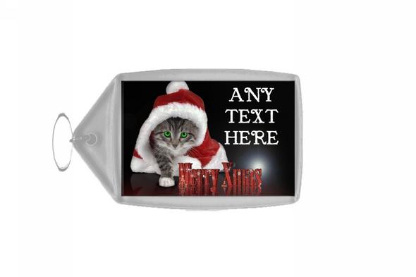 Santa Cat Christmas Personalised Keyring