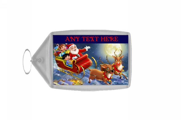 Santa In His Sleigh Christmas Personalised Keyring
