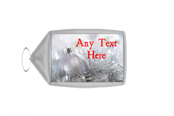 Silver Bauble Christmas Personalised Keyring