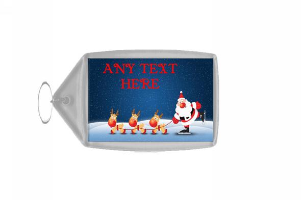 Snowing Santa Christmas Personalised Keyring