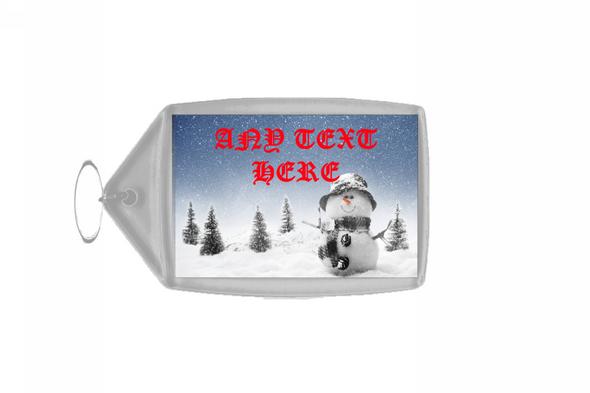 Snowing Snowman Christmas Personalised Keyring