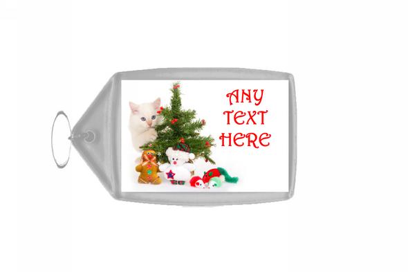 White Cat Christmas Personalised Keyring