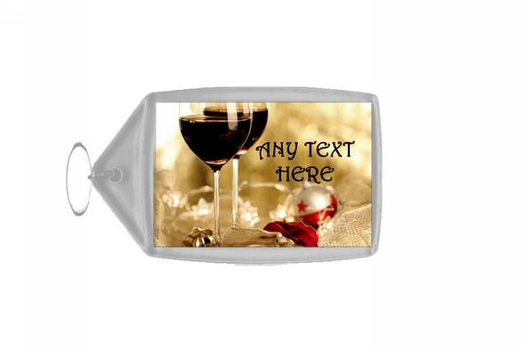 Wine Christmas Personalised Keyring
