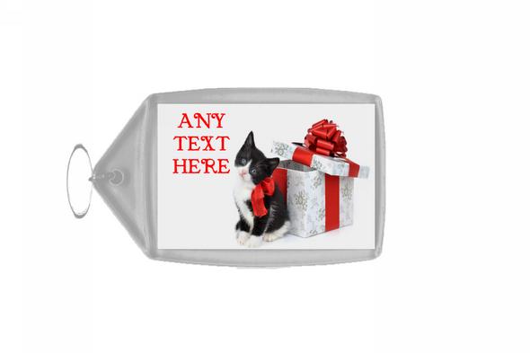 Black And White Cute Kitten Christmas Personalised Keyring