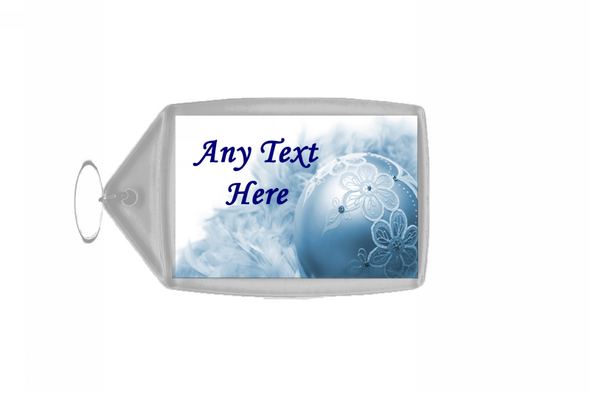 Blue Lace Bauble Christmas Personalised Keyring