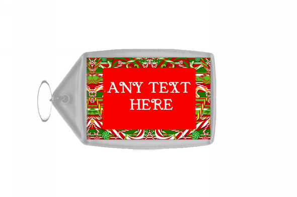 Candy Cane Christmas Personalised Keyring