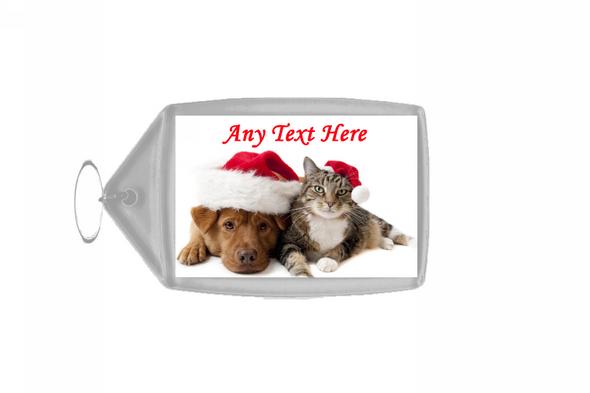 Cat And Dog Christmas Personalised Keyring
