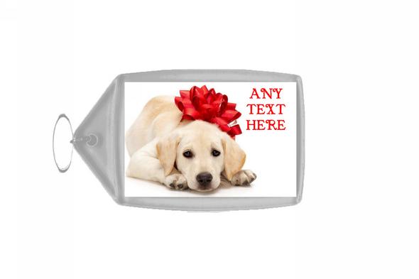 Dog With Xmas Bow Christmas Personalised Keyring