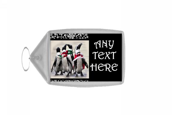 Funny Penguins Christmas Personalised Keyring