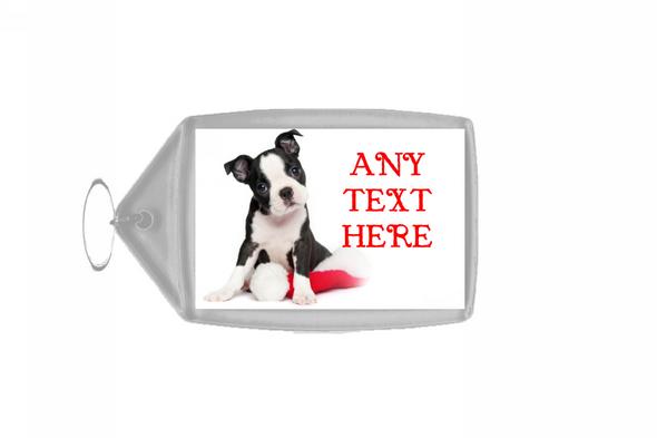 Beautiful Puppy Christmas Personalised Keyring