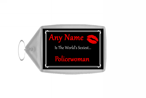 Policewoman Personalised World's Sexiest Keyring