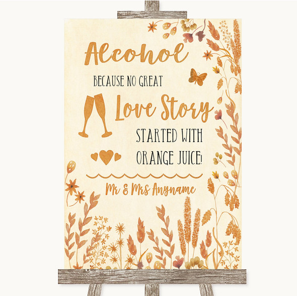 Autumn Leaves Alcohol Bar Love Story Personalised Wedding Sign