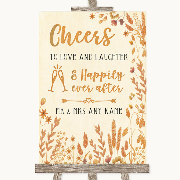 Autumn Leaves Cheers To Love Personalised Wedding Sign