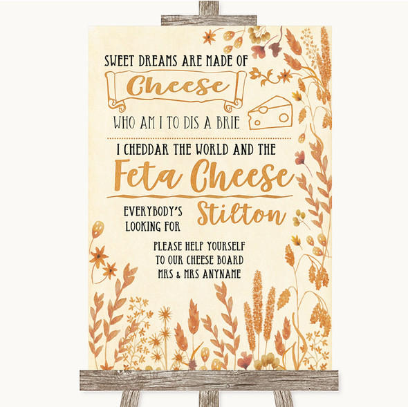 Autumn Leaves Cheeseboard Cheese Song Personalised Wedding Sign