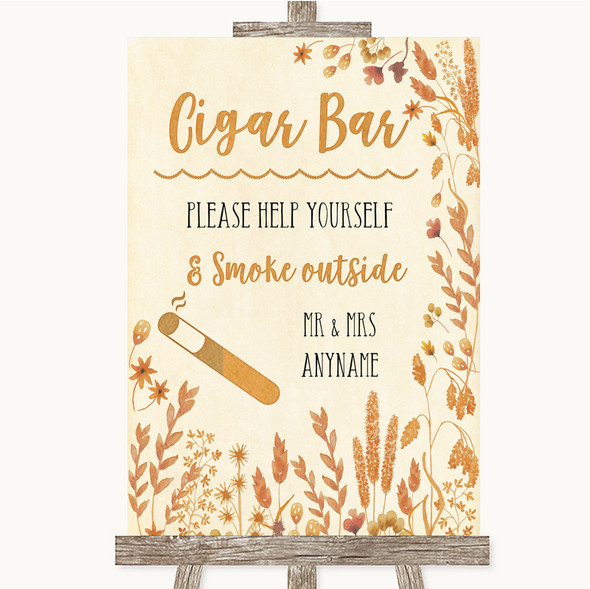 Autumn Leaves Cigar Bar Personalised Wedding Sign
