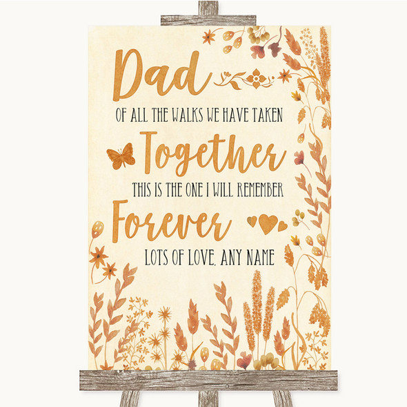 Autumn Leaves Dad Walk Down The Aisle Personalised Wedding Sign