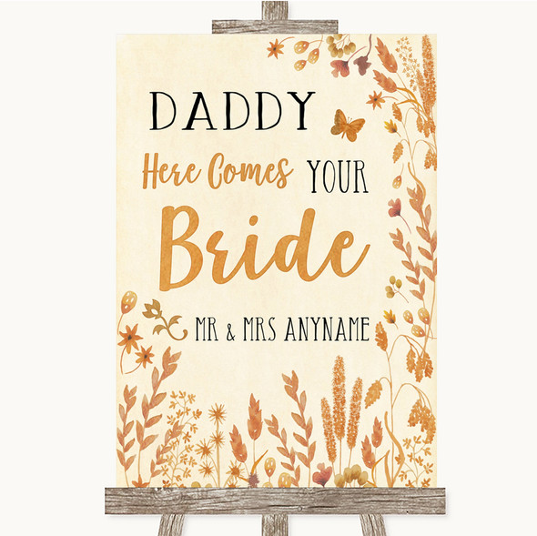 Autumn Leaves Daddy Here Comes Your Bride Personalised Wedding Sign