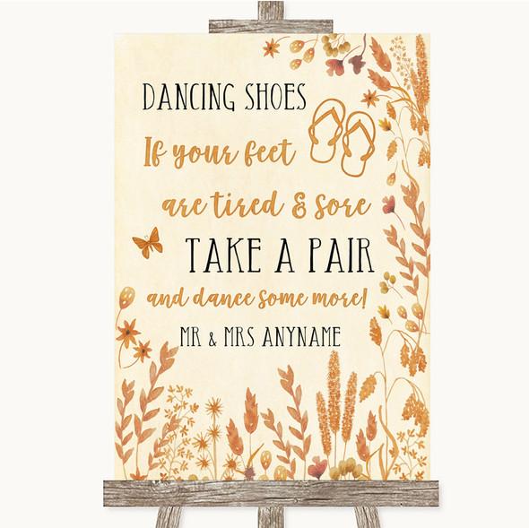 Autumn Leaves Dancing Shoes Flip Flops Personalised Wedding Sign