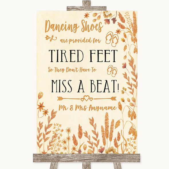 Autumn Leaves Dancing Shoes Flip-Flop Tired Feet Personalised Wedding Sign