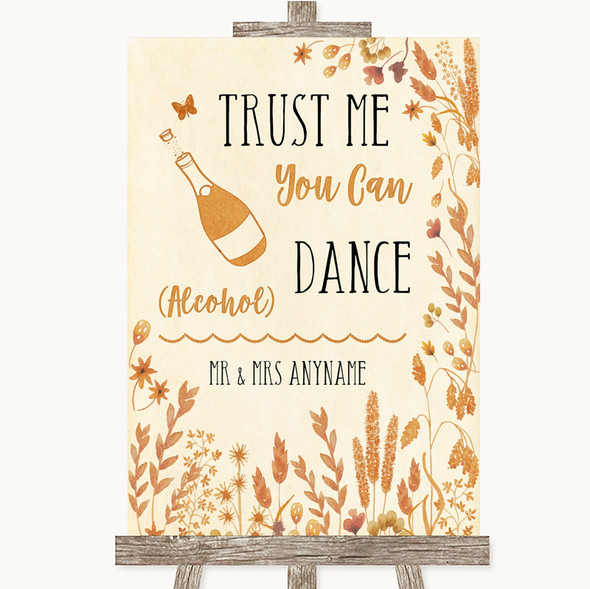 Autumn Leaves Alcohol Says You Can Dance Personalised Wedding Sign