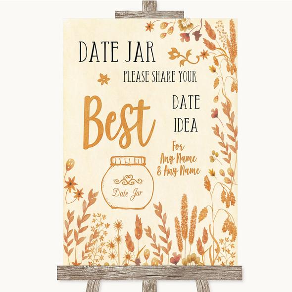 Autumn Leaves Date Jar Guestbook Personalised Wedding Sign