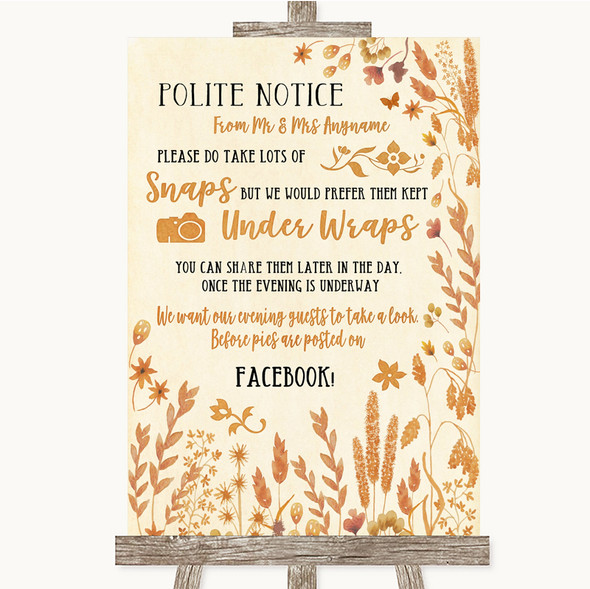 Autumn Leaves Don't Post Photos Facebook Personalised Wedding Sign